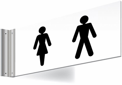 150x300mm Washroom Sign - T Bar - black text on white background