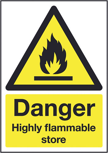 210x148mm Danger Highly Flammable Store - Rigid