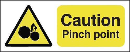 100x250mm Caution Pinch Point - Rigid