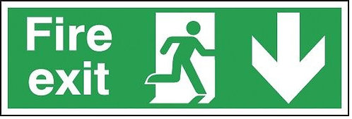 150x450mm Fire exit down sign - Double sided
