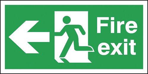 150x300mm Fire Exit Running Man Arrow Left - Self Adhesive