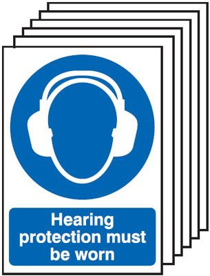 210x148mm Hearing Protection Must Be Worn - Rigid Pk of 6