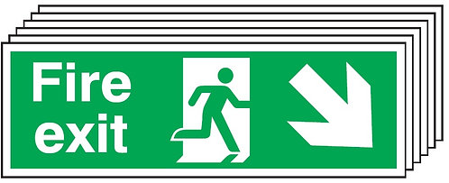 150x450mm Fire Exit Running Man Arrow Down Right - Self Adhesive Pk of 6