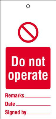 200x100mm Do not operate Maintenance Safety Tag