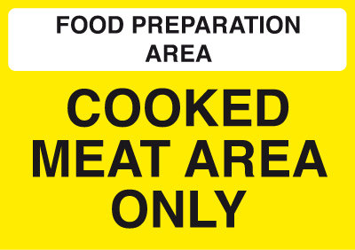 148x210mm Food Prep Area - Cooked Meat Area Only - Self Adhesive