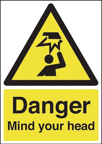 210x148mm Danger Mind Your Head - Rigid