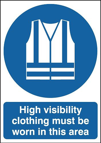 210x148mm High Visibility Clothing Must Be Worn In This Area - Self Adhesive