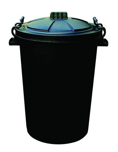 110 Litre Clip Lid Bin - Black