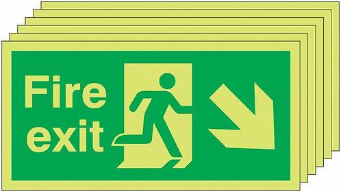150x300 6 pack 150x300 Fire Exit Running Man Arrow Down Right - Nite Glo Rigid