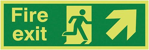 150x450mm Fire Exit Running Man Arrow Up Right - Xtra Glo Rigid