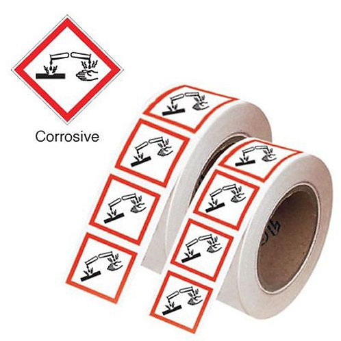 100x100mm Corrosive GHS Symbols on a roll