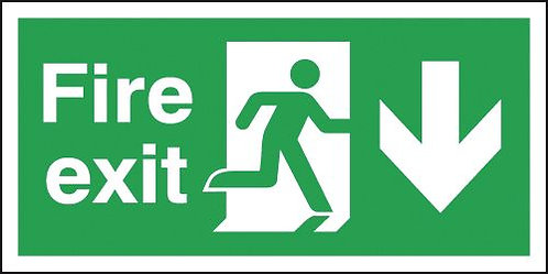 150x300mm Fire Exit Running Man Arrow Down - Self Adhesive Pk of 6