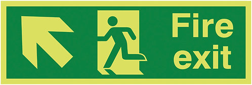 150x450mm Fire Exit Running Man Arrow Up Left - Xtra Glo Self Adhesive