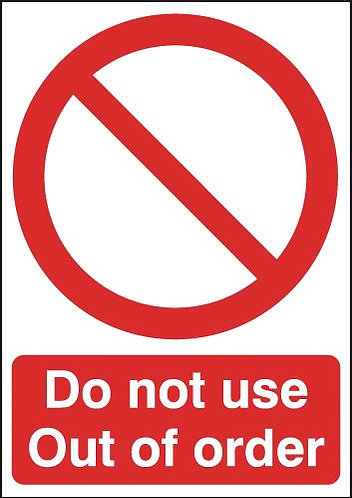 210x148mm Do Not Use Out of Order - Rigid
