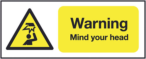 100x250mm Warning Mind Your Head - Self Adhesive