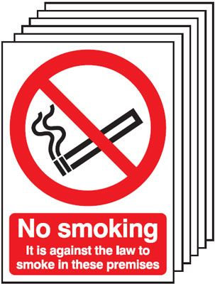 210x148mm No Smoking It Is Against The Law - Self Adhesive Pk of 6