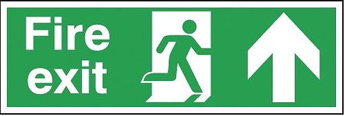 150x300mm Fire Exit Running Man Arrow Up - Aluminium