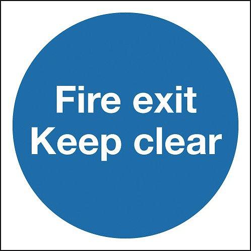 150x150mm Fire Exit Keep Clear - Rigid