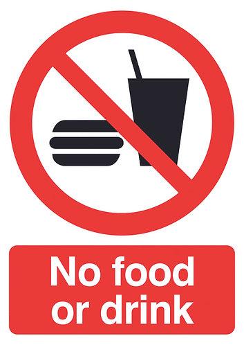 210x148mm No Food or Drink - Rigid