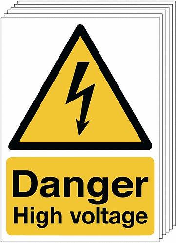 210x148mm Danger High Voltage - Rigid Pk of 6