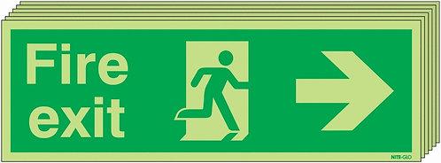 150x450 6 pack 150x450 Fire Exit Running Man Arrow Right - Nite Glo Rigid