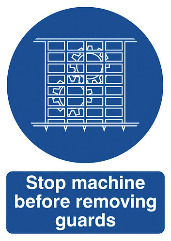 210x148mm Stop Machine Before Removing Guards - Self Adhesive