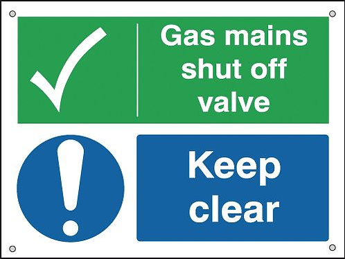 150x200mm Gas Mains Shut Off Valve Keep Clear - Aluminium