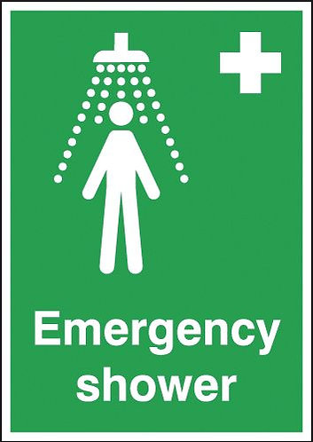 210x148mm Emergency Shower - Self Adhesive