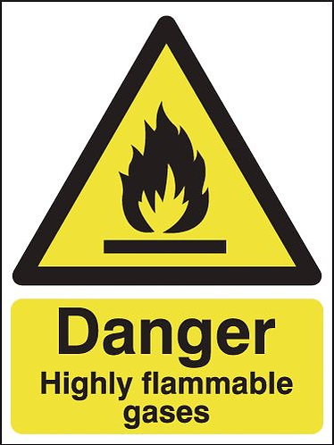 210x148mm Danger Highly Flammable Gases - Rigid