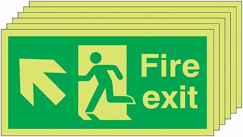 150x300 6 pack 150x300 Fire Exit Running Man Arrow Up Left - Nite Glo Rigid