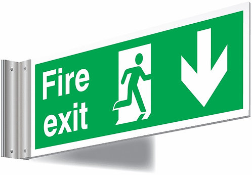 150x450mm Fire exit down sign - T Bar