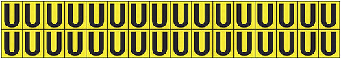 19x14mm Vinyl Cloth Letters Card U