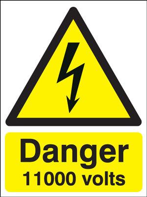 210x148mm Danger 11000 Volts - Rigid