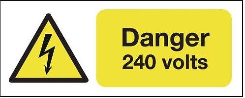 100x250mm Danger 240 Volts - Rigid