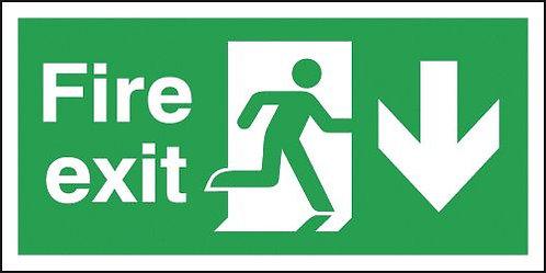 150x300mm Fire Exit Running Man Arrow Down - Self Adhesive