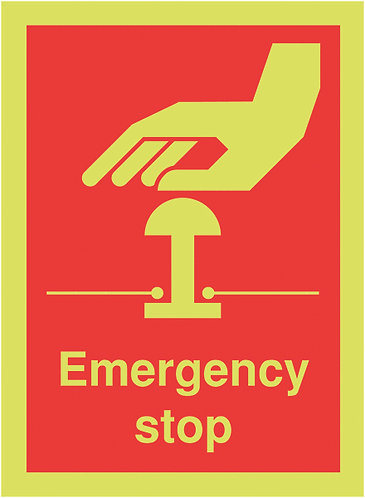 100x75mm Emergency Stop - Nite Glo Self Adhesive