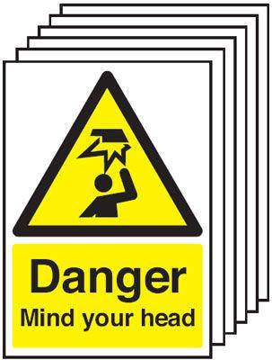 210x148mm Danger Mind Your Head - Rigid Pk of 6