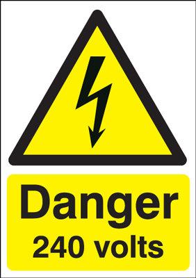 210x148mm Danger 240 Volts - Rigid