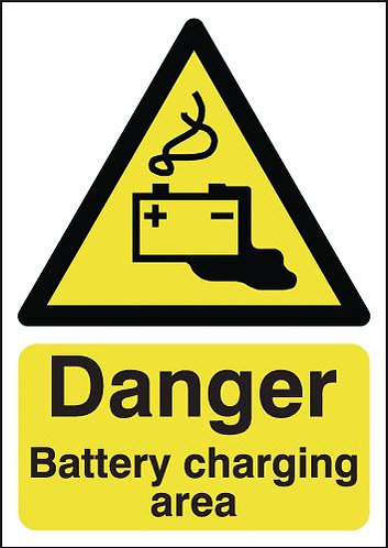 210x148mm Danger Battery Charging Area - Rigid