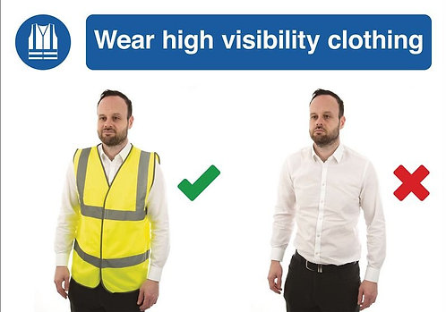 210 x 297mm Wear high visibility clothing - Self Adhesive