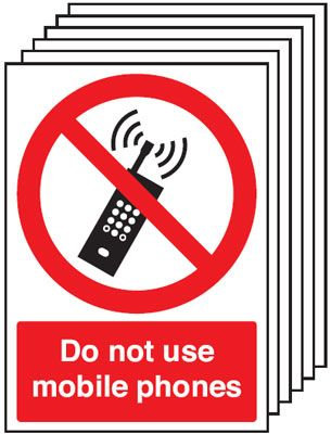 210x148mm Do Not Use Mobile Phones - Rigid Pk of 6