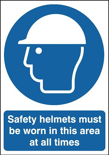 210x148mm Safety Helmets Must Be Worn In This Area At All Times - Rigid