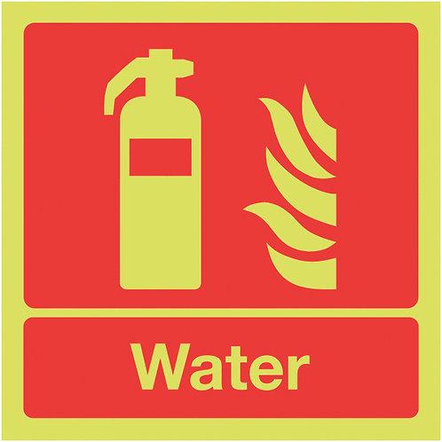 100x100mm Water Extinguisher - Nite Glo Self Adhesive