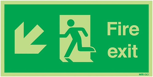 150x300mm Fire Exit Running Man Arrow Down Left - Nite Glo Self Adhesive