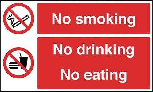 150x300mm No Smoking No Drinking No Eating - Self Adhesive