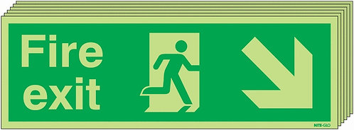150x450 6 pack 150x450 Fire Exit Running Man Arrow Down Right - Nite Glo Rigid