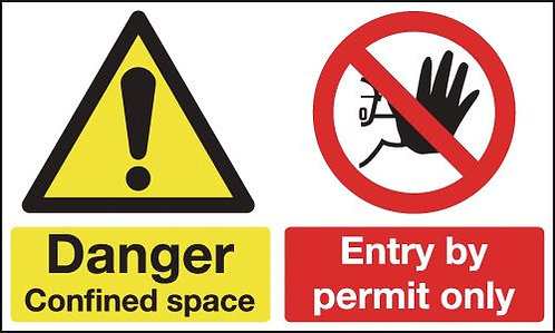 150x300mm Danger Confined Space Entry By Permit Only - Self Adhesive