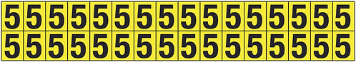 19x14mm Vinyl Cloth Numbers Card 5