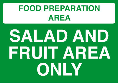 148x210mm Food Prep Area - Vegetable Area Only - Rigid