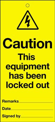 110x50mm Caution this equipment has been locked out Maintenance Safety Tag